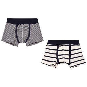 Petit Bateau Boys Underwear White Marine Boxers (2 Pack)