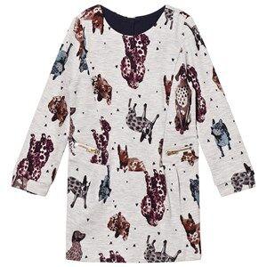 Catimini Girls Dresses Grey Grey Marled Dog Print Sweater Dress