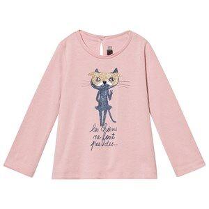 Catimini Girls Tops Pink Pink Glitter Cat Tee