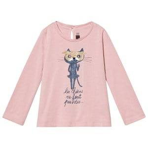 Catimini Girls Tops Pink Pink Glitter Cat Tee