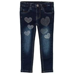 Le Chic Girls Bottoms Blue Heart Stone Jeans Dark Wash