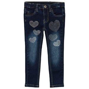 Le Chic Girls Bottoms Blue Heart Stone Jeans Dark Wash