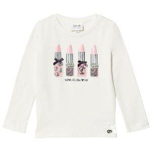 Le Chic Girls Tops White Cream Lipstick Tee