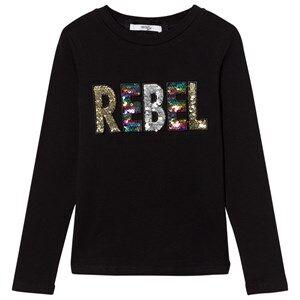 Relish Girls Tops Black Black Sequin Rebel Long Sleeve Tee