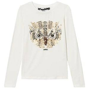 Relish Girls Tops Cream Cream Owl Beaded Tee
