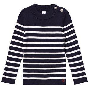 Petit Bateau Unisex Jumpers and knitwear Blue Marine White Striped Nautical Sweater
