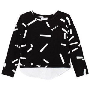 DKNY Girls Tops Black Black Confetti Print Mock Layer Tee