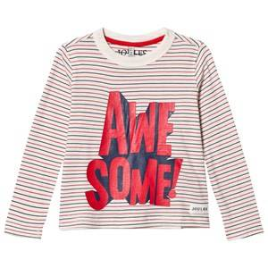 Tom Joule Boys Tops Cream Cream Stripe Awesome Long Sleeve Tee