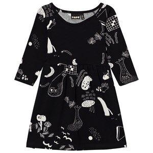 Papu Girls Dresses Black Night Gather Dress