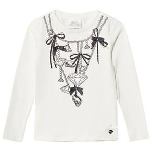 Le Chic Girls Tops White Cream Diamond Chain Tee