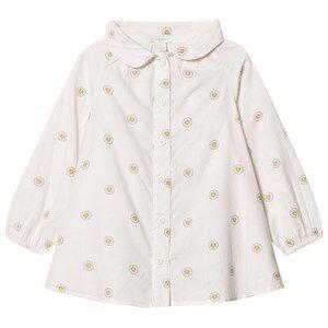 Margherita Kids Girls Tops Cream Cream Printed Daisy Logo Smock Shirt