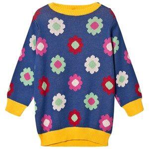 Margherita Kids Girls Dresses Blue Blue Multi Daisy Double Knit Dress