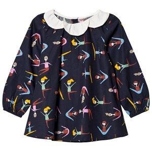 Margherita Kids Girls Tops Navy Black Multi Stretching Print Daisy Collar Top