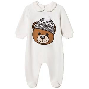 Moschino Kid-Teen Unisex All in ones White White Bear Applique Footed Baby Body in Gift Box