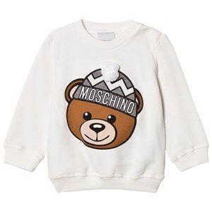 Moschino Kid-Teen Unisex Jumpers and knitwear White Cream Winter Bear Pom Pom Applique Sweatshirt