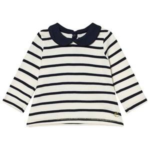Petit Bateau Girls Tops White Marine Stripe Top