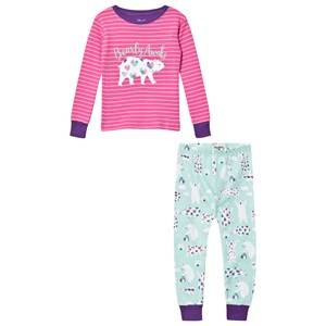 Hatley Girls Nightwear Pink Pink Glitter Polar Bear/Stripe Pyjamas