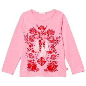 Billieblush Girls Tops Pink Pink Pom Pom Tassle Tee
