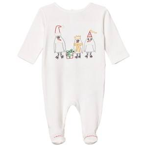 Stella McCartney Kids Girls All in ones White White Footed Baby Body Christmas Embroidery