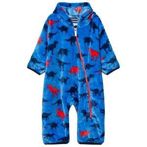 Hatley Boys All in ones Blue Blue Dino Print Fleece Onesie