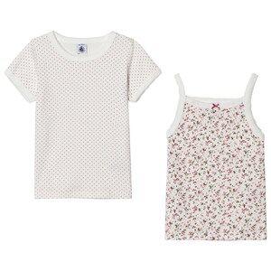 Petit Bateau Unisex Underwear White Pink Cotton Tops (2 Pack)