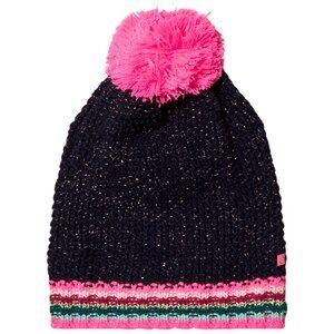 Le Big Girls Headwear Navy Navy Stripe Knitted Bobble Hat