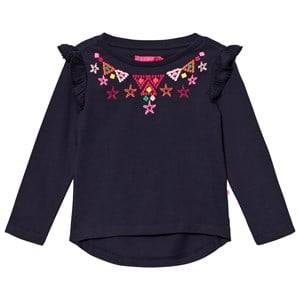 Le Big Girls Tops Navy Navy Embroidered Tee with Frill Sleeve