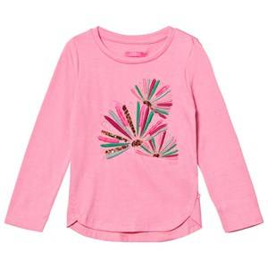 Le Big Girls Tops Pink Pink Melange Embroidered Long Sleeve Tee