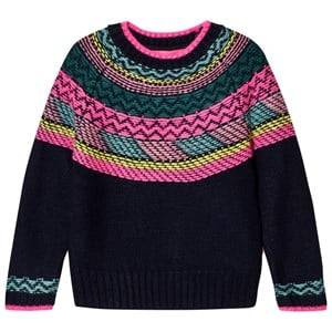 Le Big Girls Jumpers and knitwear Navy Navy and Multi Stripe Knit Sweater