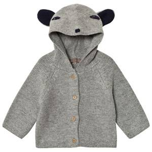 Emile et Ida Girls Jumpers and knitwear Grey Knitted Cardigan with Animal Hood Gris Chine