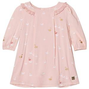 Image of Carrément Beau Girls Dresses Pink Pink Swan Print Frill Collar Dress