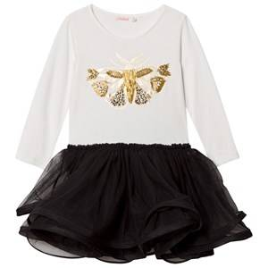 Image of Billieblush Girls Dresses White White and Black Bee Embellished Jersey and Tulle Dress