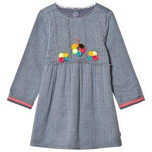 Billieblush Girls Dresses Blue Blue Chambray Pom Pom Dress