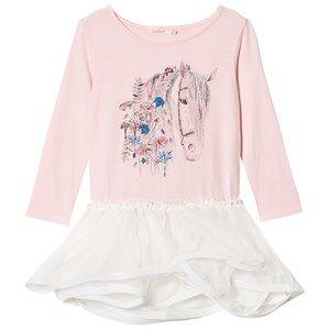 Billieblush Girls Dresses Pink Pink Horse Embellished Jersey and Tulle Dress