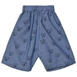 Wynken Girls Bottoms Blue Chambray Monster Culottes