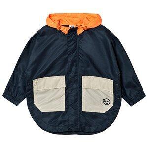Wynken Girls Coats and jackets Navy Navy and Orange Zip-Through Poncho