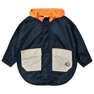 Wynken Girls Coats and jackets Navy Navy and Orange Zip-Through Poncho