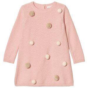 Image of Il Gufo Girls Dresses Pink Pink/White Pom Pom Knit Dress