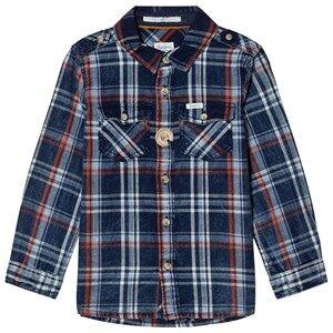 Pepe Jeans Boys Tops Blue Daniel Check Shirt Blue/Orange