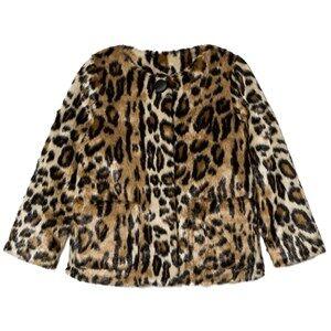 Pepe Jeans Girls Coats and jackets Beige Leopard Print Faux Fur Jacket