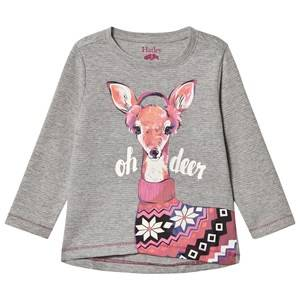 Hatley Girls Tops Grey Grey Deer Print Long Sleeve Tee