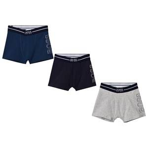 Boss Boys Underwear Blue 3 Pack of Blue, Navy and Grey Branded Boxers