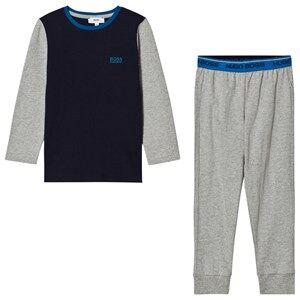 Boss Boys Nightwear Grey Grey and Blue Branded Pyjamas