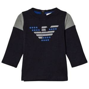 Giorgio Armani Junior Boys Tops Navy Navy and Grey Eagle Logo Long Sleeve Tee