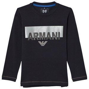 Giorgio Armani Junior Boys Tops Navy Navy Branded and Logo Long Sleeve Tee
