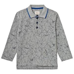 Giorgio Armani Junior Boys Tops Grey Grey Allover Geometric Logo Polo