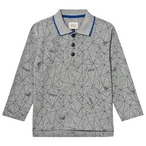 Giorgio Armani Junior Boys Tops Grey Grey Allover Geometric Logo Polo