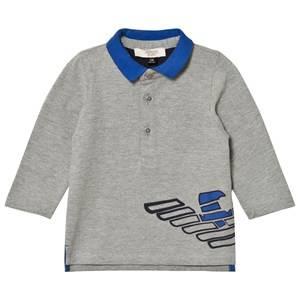 Giorgio Armani Junior Boys Tops Grey Grey Marl and Electric Blue Logo Polo