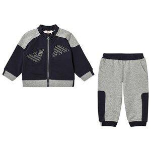 Giorgio Armani Junior Boys Clothing sets Navy Navy and Grey Logo Tracksuit