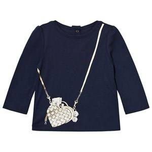Little Marc Jacobs Girls Tops Navy Navy Bag Print Long-Sleeve Tee